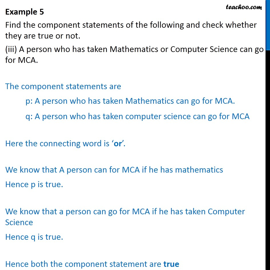 Example 5  - Chapter 14 Class 11 Mathematical Reasoning - Part 3