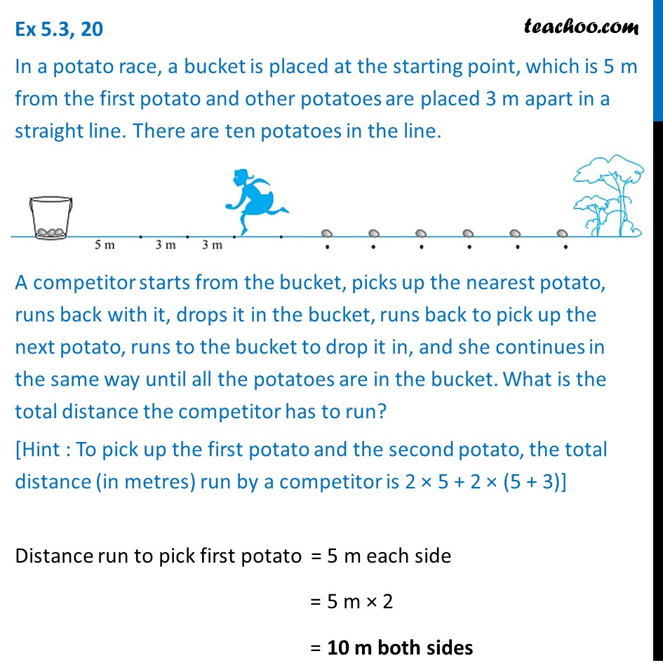 Ex 5.3, 20 - In a potato race, a bucket is placed at - Ex 5.3