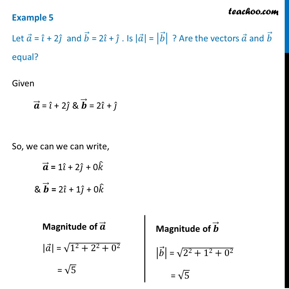 Example 5 - Let a = i + 2j, b = 2i + j. Is |a| = |b|? - Examples