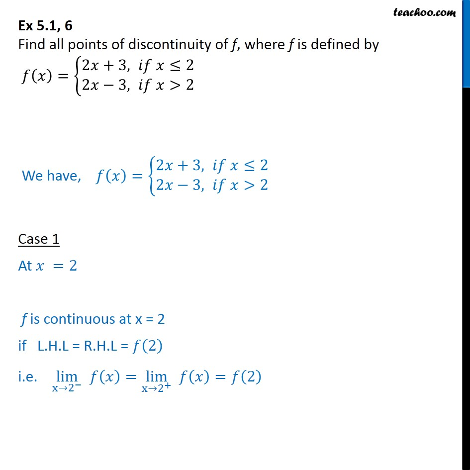 Ex 5.1 ,6 - Find all points of discontinuity of f(x) = {2x + 3 - Ex 5.1