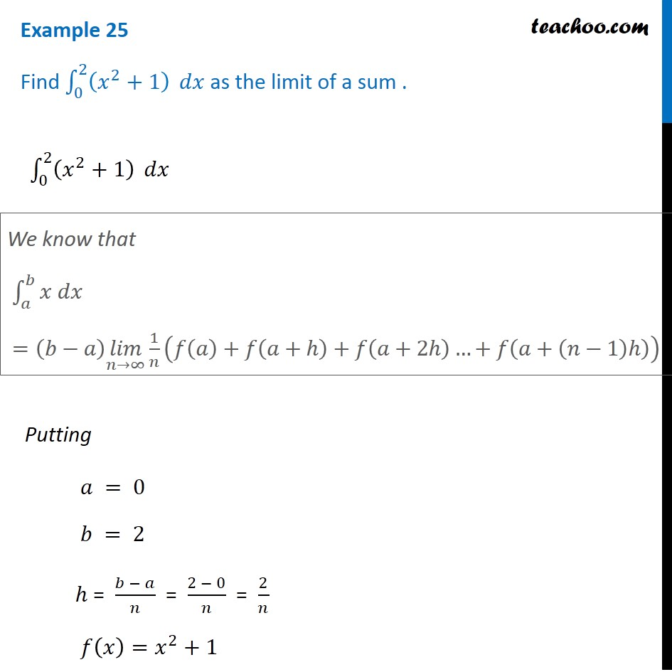 Example 25 - Find integral (x2 + 1)dx as limit of a sum - Examples