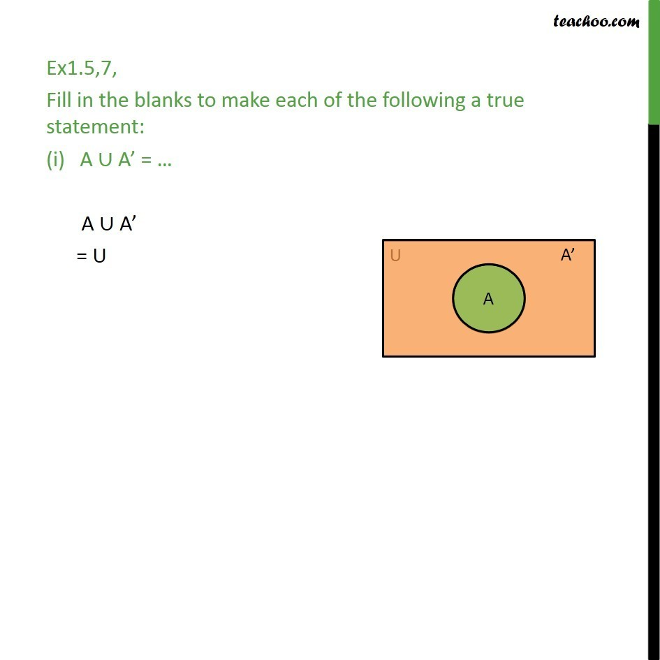 Ex 1.5, 7 - Fill in the blanks (i) A U A' - Chapter 1 Sets - Venn Diagrams - Compelment