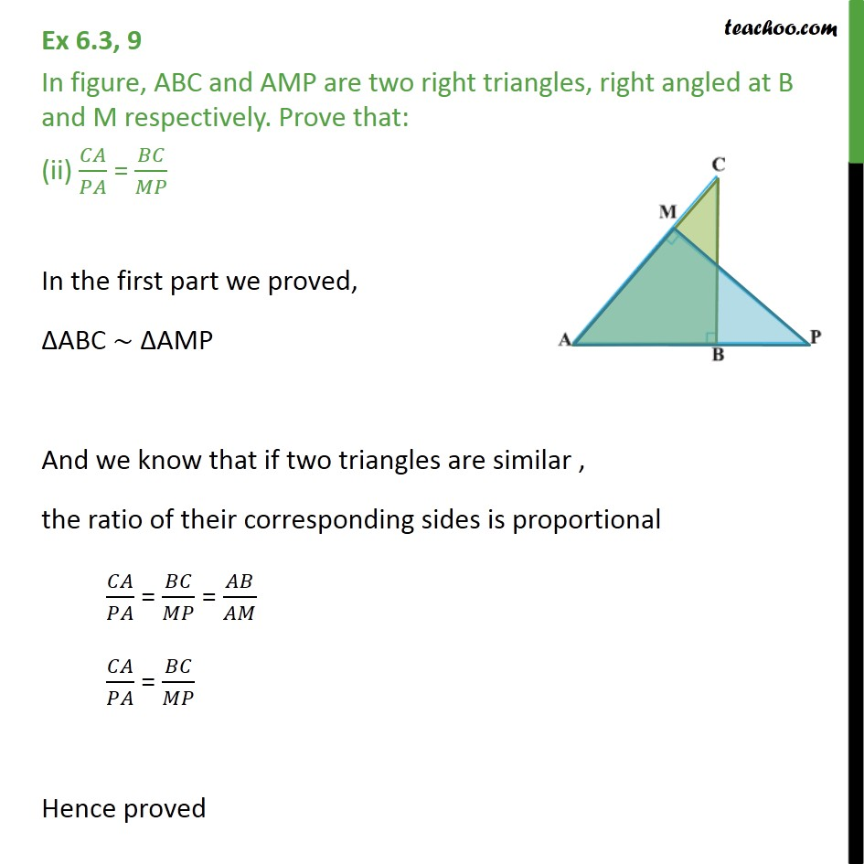 Ex 6.3, 9 - Chapter 6 Class 10 Triangles - Part 2