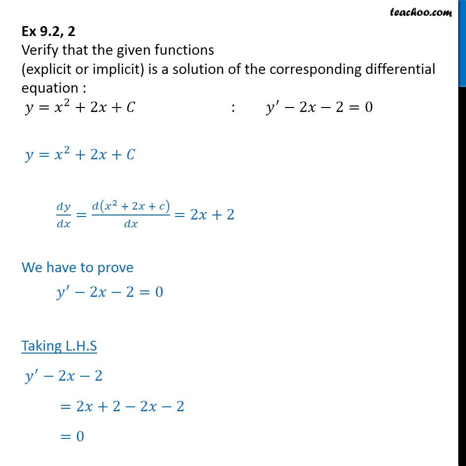 Ex 9.2, 2 - Verify solution: y = x2 + 2x + C : y' - 2x -2 = 0 - Gen and Particular Solution