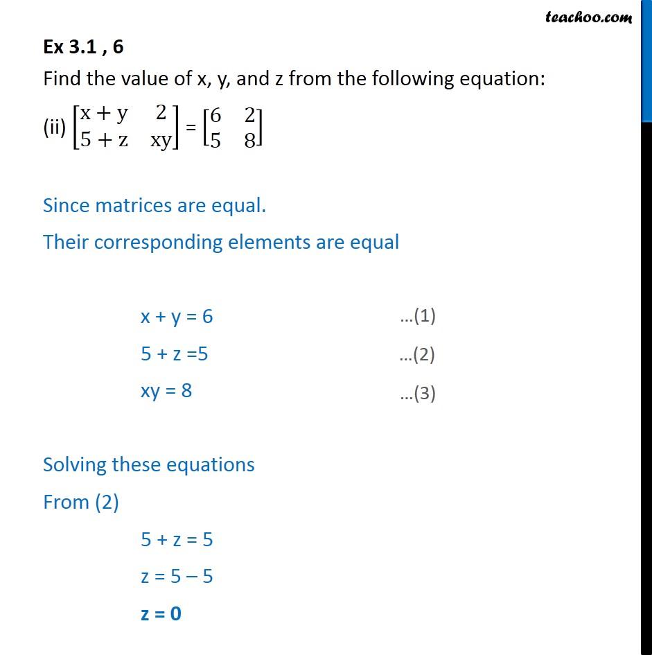 Ex 3.1, 6 - Chapter 3 Class 12 Matrices - Part 2