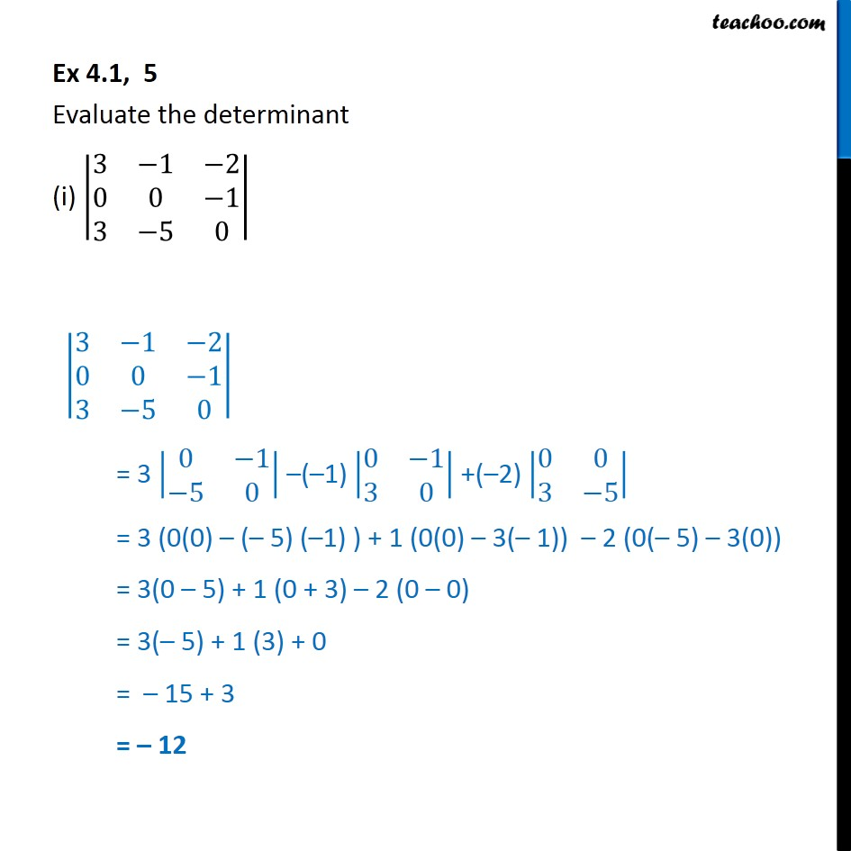 Ex 4.1, 5 - Evaluate determinant - Chapter 4 Class 12 - Ex 4.1