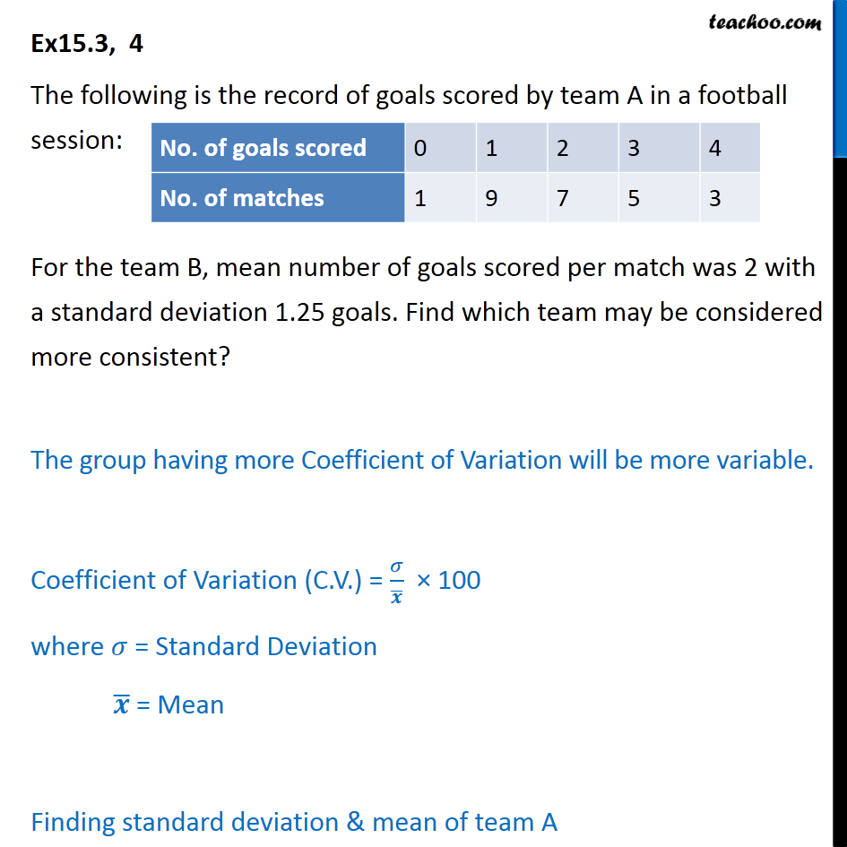 Ex 15.3, 4 - Record of goals scored by team A in a football - Co-efficient of variation
