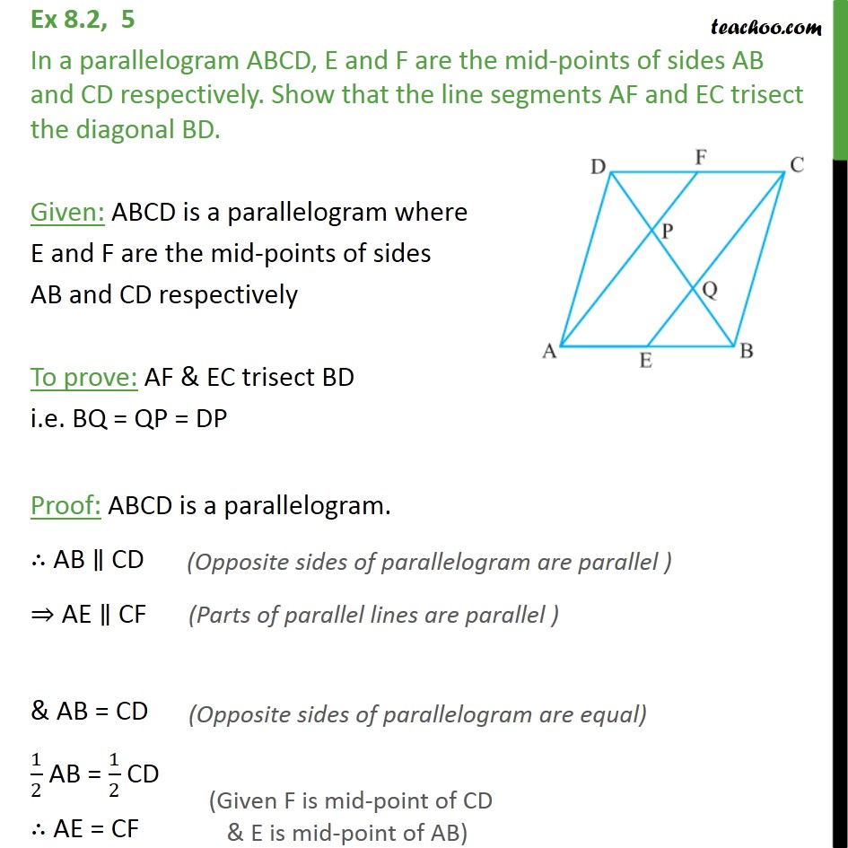 Ex 8.2, 5 - In a parallelogram ABCD, E and F are mid-points - Ex 8.2