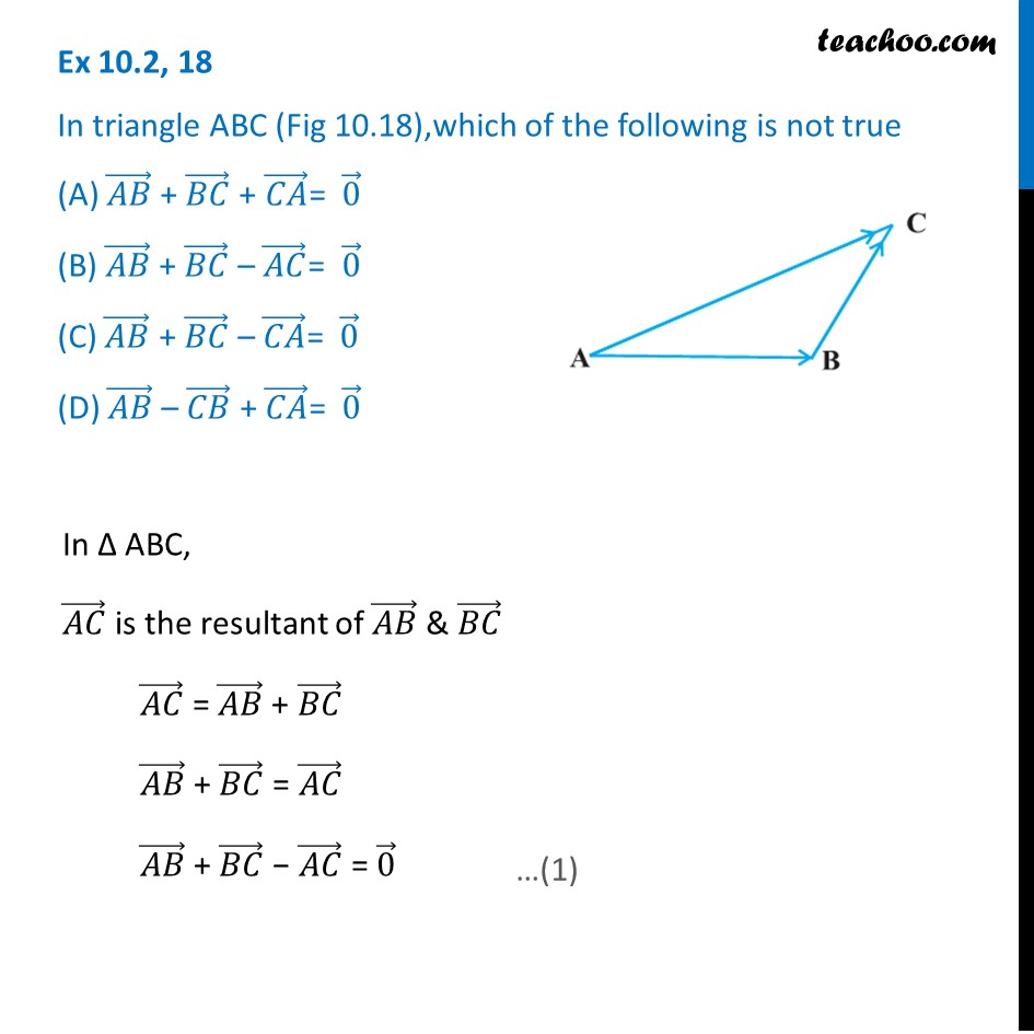 Ex 10.2, 18 - In triangle ABC which is not true AB + BC + CA = 0