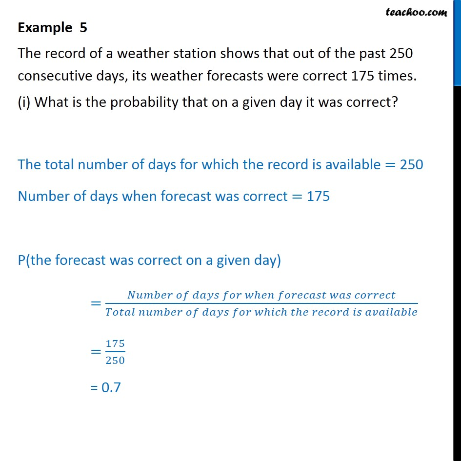 Example 5 - The record of a weather station shows that - Examples
