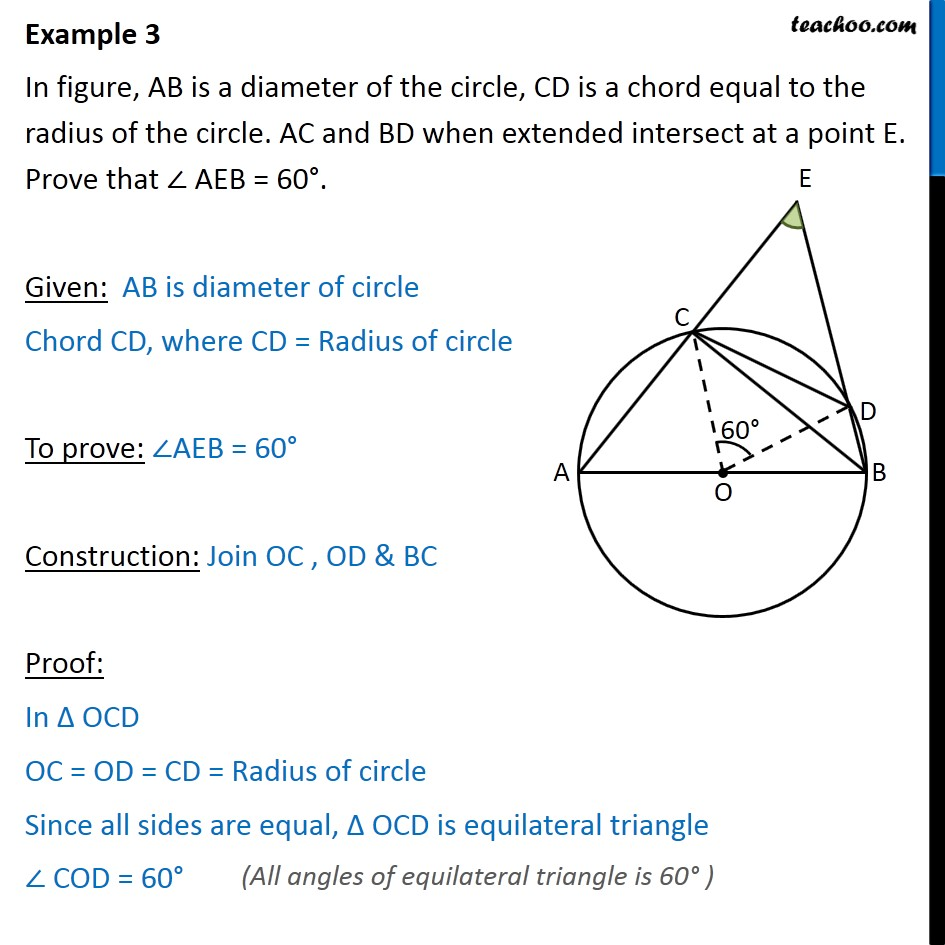 Example 3 - In figure, AB is a diameter of circle, CD - Examples