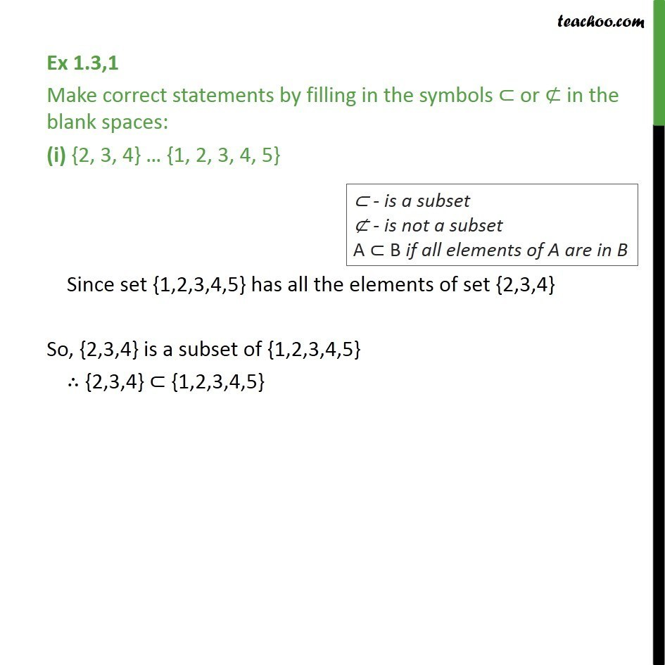 Ex 1.3, 1 - Make correct statements by filling in symbols - Subset