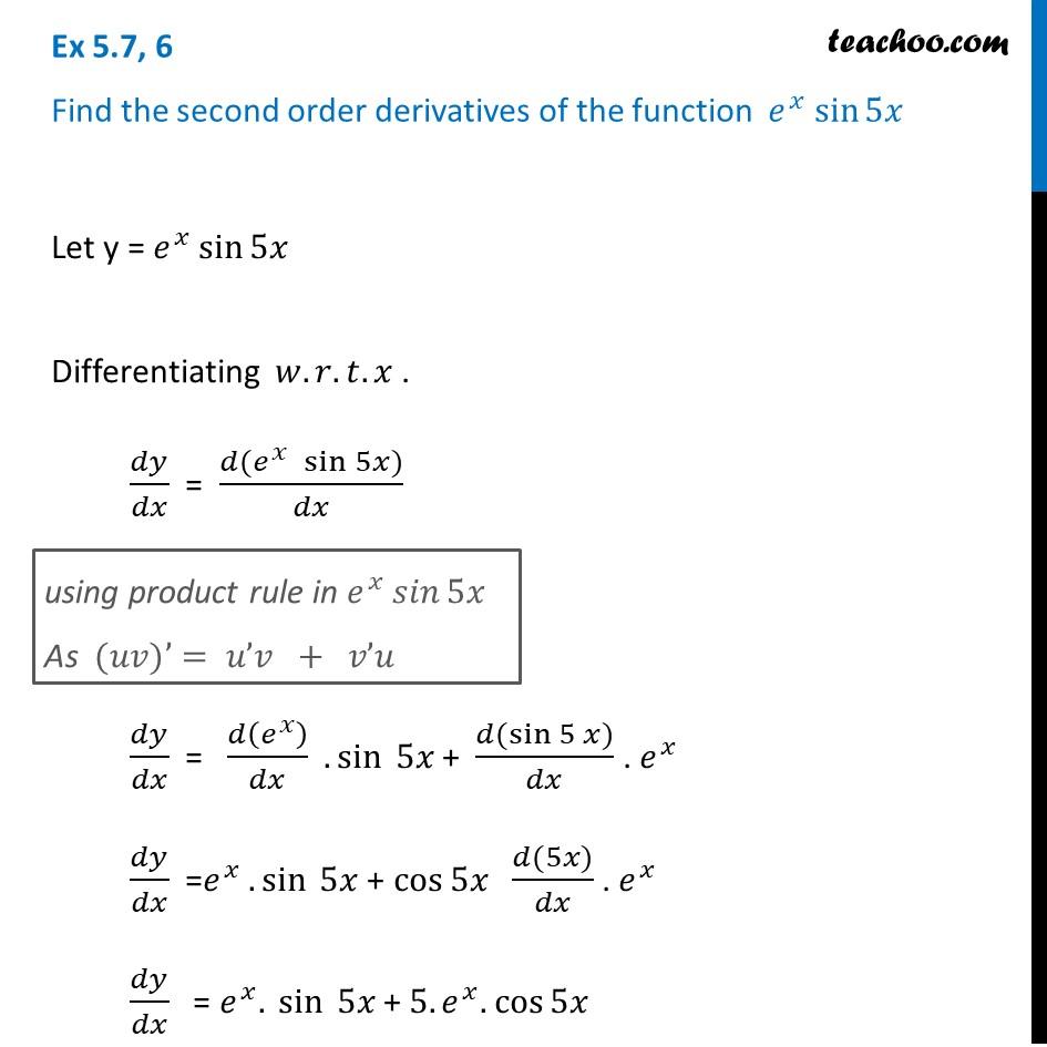 Ex 5.7, 6 Class 12 Maths - Find second order derivative of e^x sin 5x