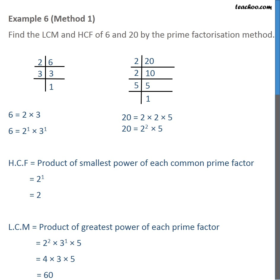 Example 6 - Find LCM HCF of 6 and 20 by prime factorisation - LCM/HCF