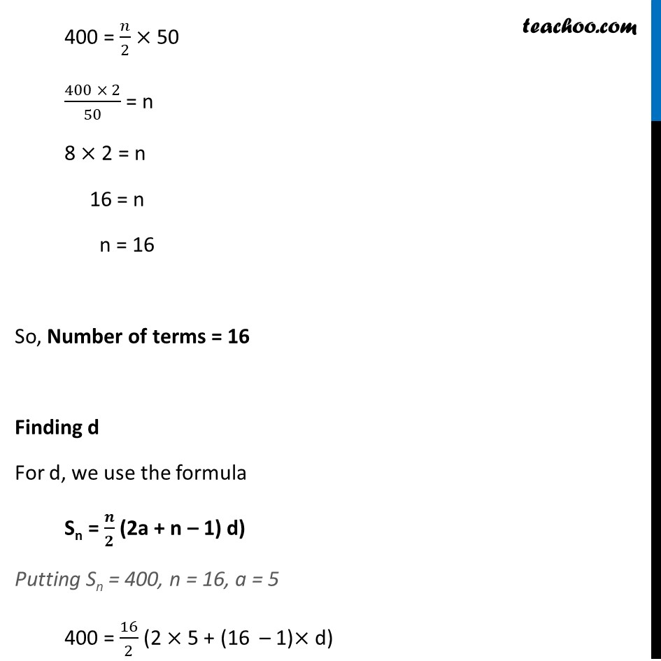 Ex 5.3, 5 - Chapter 5 Class 10 Arithmetic Progressions - Part 2
