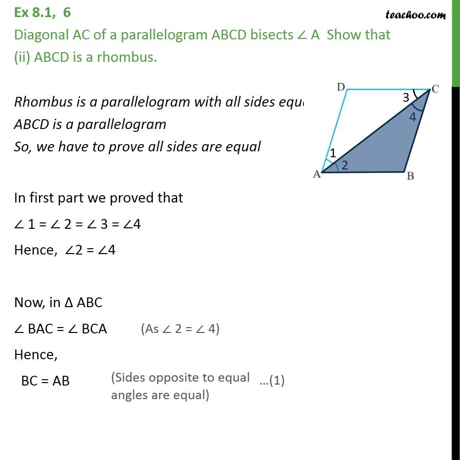 Ex 8.1, 6 - Chapter 8 Class 9 Quadrilaterals - Part 3
