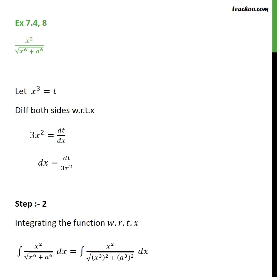 Ex 7.4, 8 - Integrate x2 / root x6 + a6 - Chapter 7 NCERT - Integration by specific formulaes - Formula 6