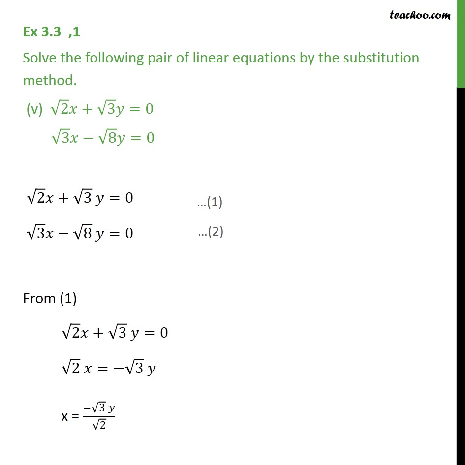 Ex 33 1 Solve By Substitution Method I X Y 14 Ex 33