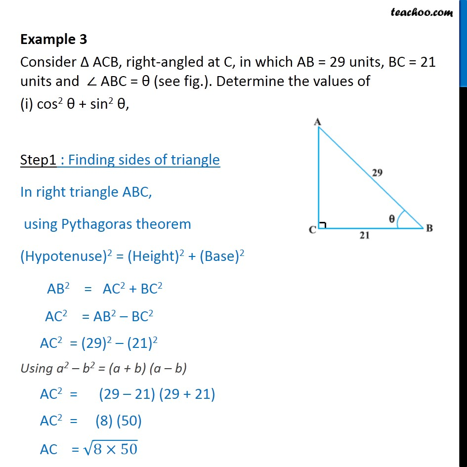 Example 3 - Consider ACB, AB = 29, BC = 21 and angle ABC - Concept wise