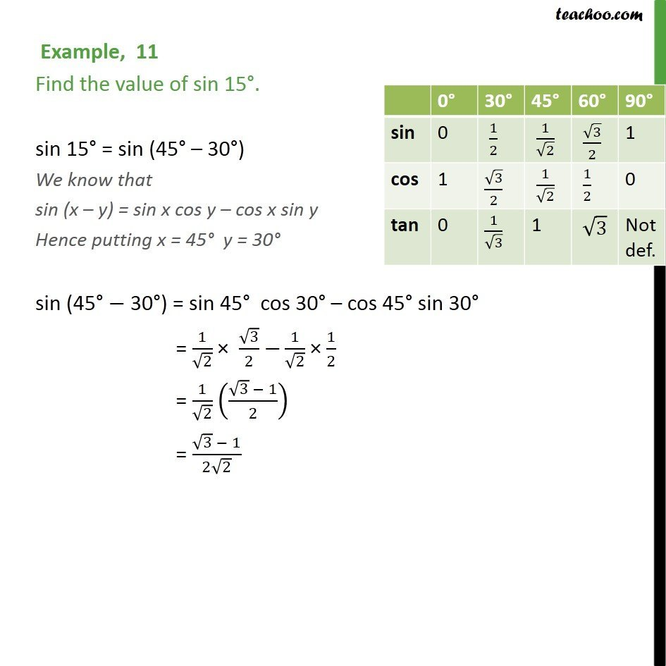 Example 11 - Find value of sin 15 - Chapter 3 Class 11 - Examples