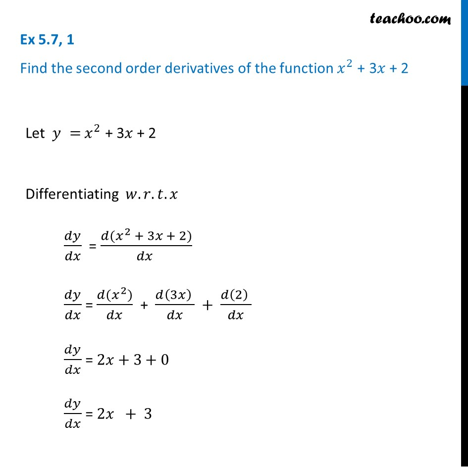 Ex 5.7, 1 - Find second order derivatives of x2 + 3x + 2