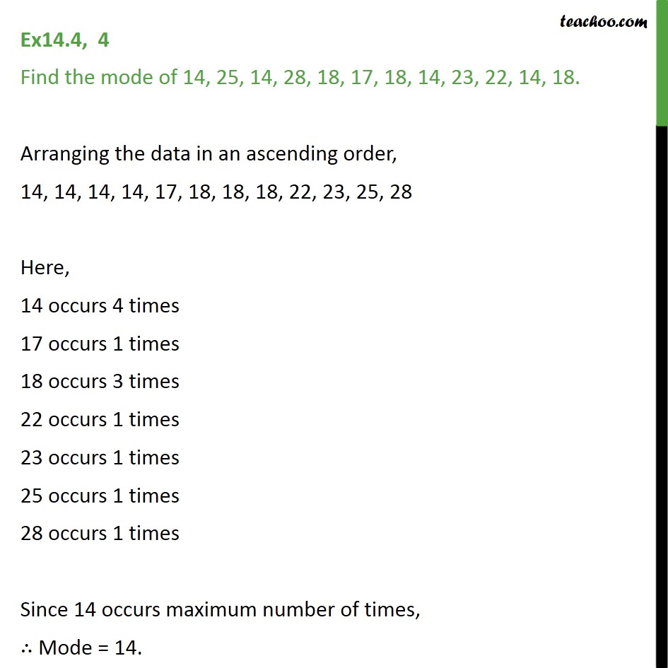 Ex 14.4, 4 - Find the mode of 14, 25, 14, 28, 18, 17, 18 - Ex 14.4