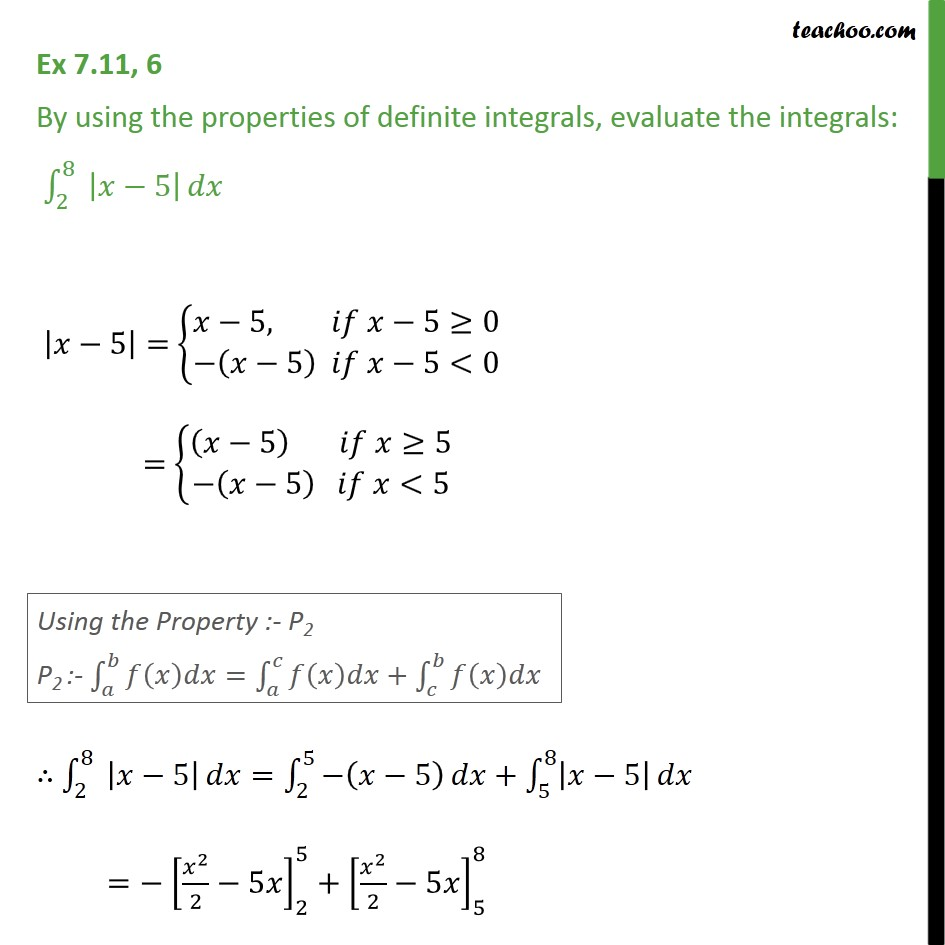 Ex 7.11, 6 - By using the properties of definite integrals, Evaluate the integrals [x - 5] dx - Ex 7.11