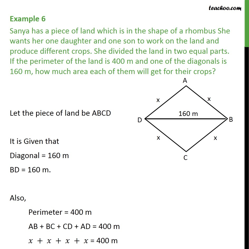 Example 6 - Sanya has a piece of land which is in shape - Finding area of quadrilateral