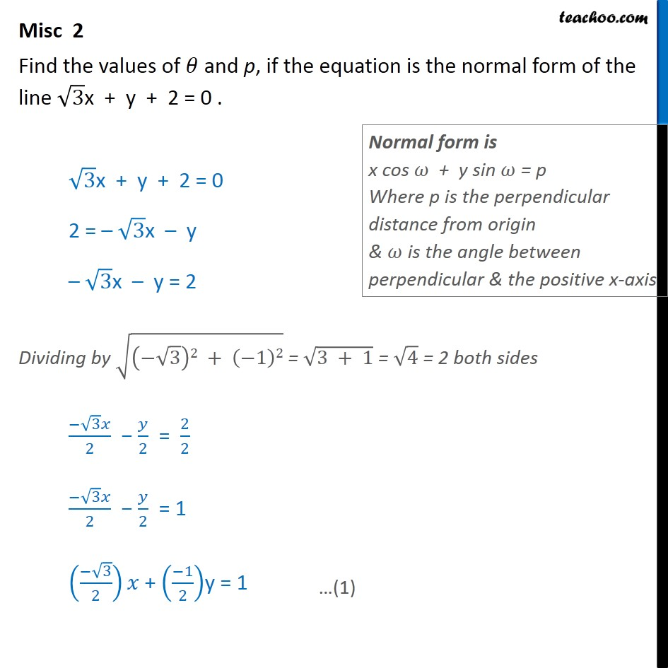 Misc 2 - Find values of theta, p, if equation is normal form - Miscellaneous