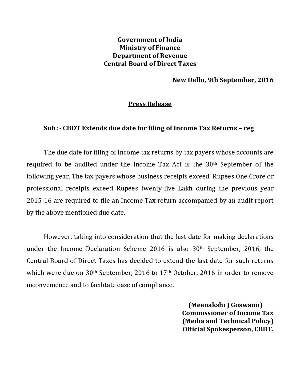 Due Date of ITR Extended for Audit Cases to 17 October 2016 (Official Press Release Attached) - Compulsory Audit and Books Requirement