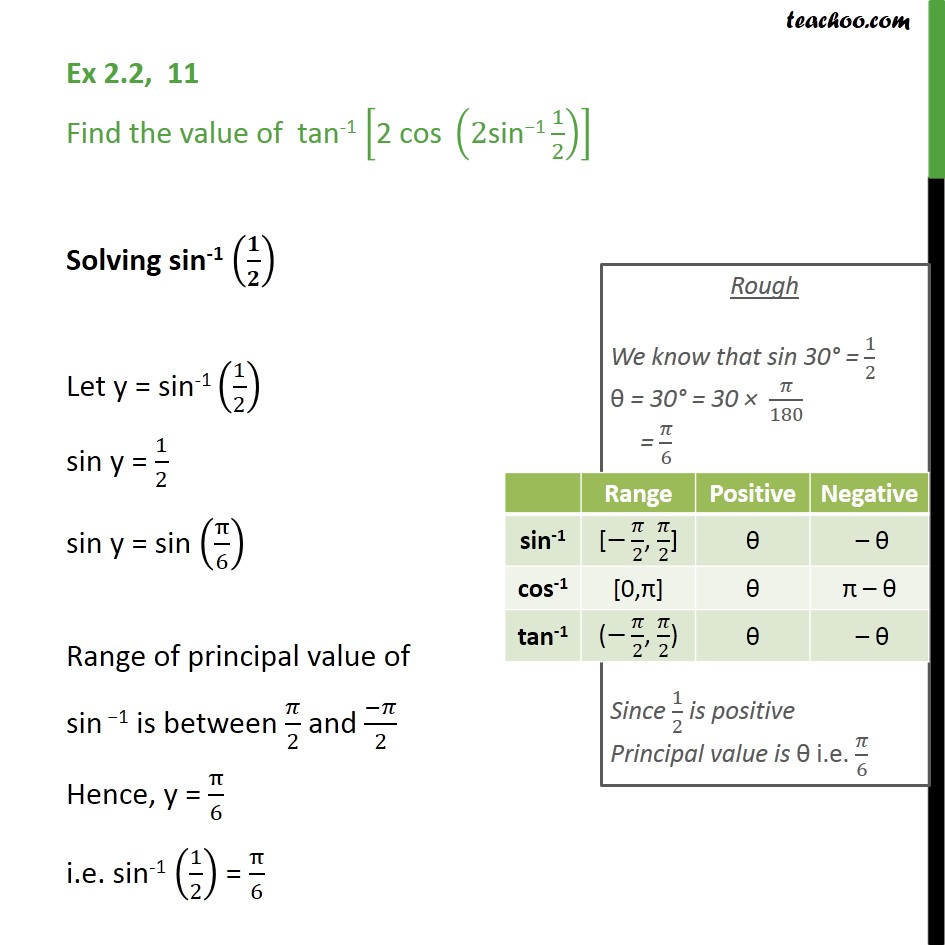 Ex 2.2, 11 - Find  tan-1 [2 cos (2 sin-1 1/2)] - Class 12 - Finding pricipal value