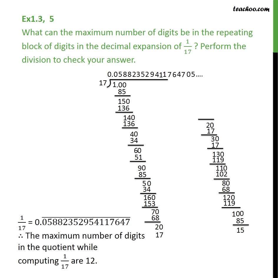 Ex 1.3,5 - What can the maximum number of digits be ... - Finding decimal expansion