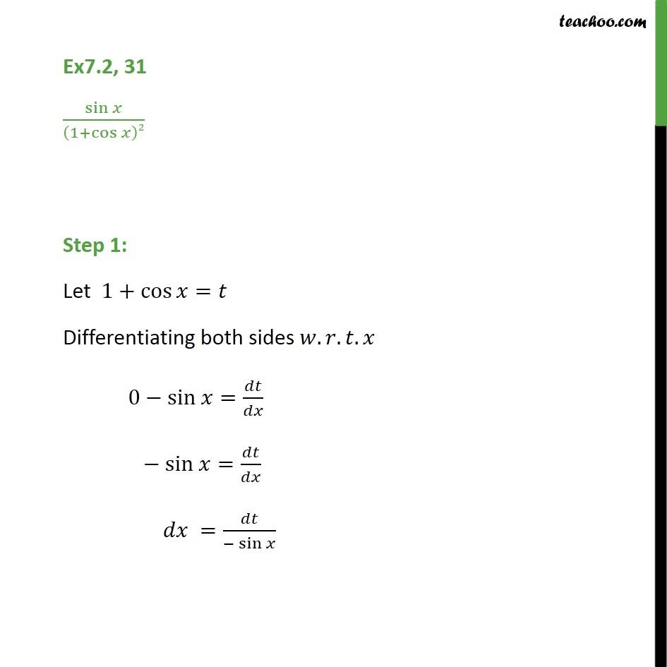 Ex 7.2, 31 - Integrate sin x / (1 + cos x)2 - Ex 7.2