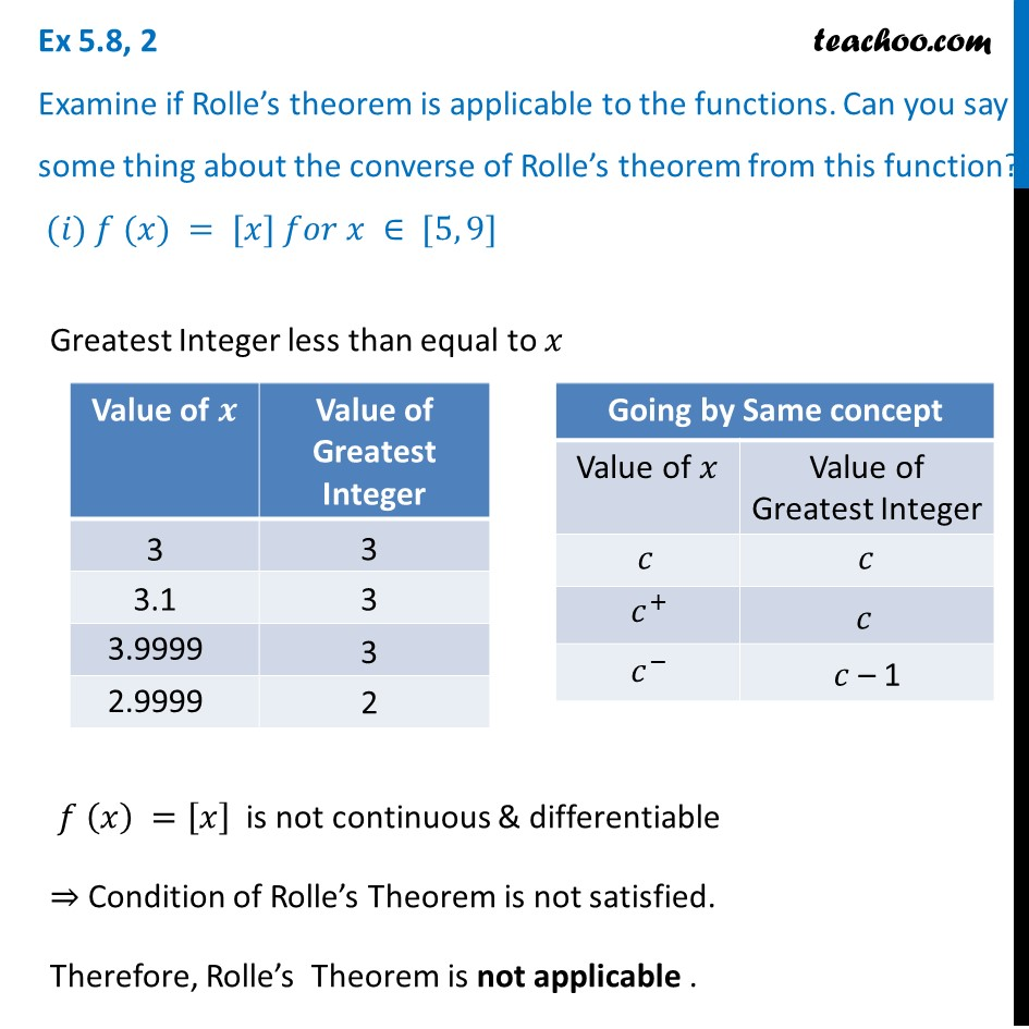 Ex 5.8, 2 - Examine if Rolle's theorem - Chapter 5 Class 12