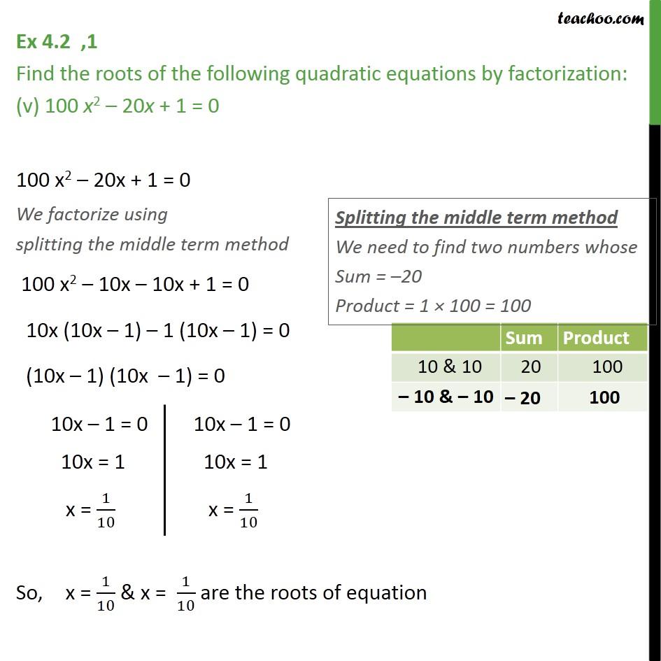 Ex 4.2, 1 - Chapter 4 Class 10 Quadratic Equations - Part 6