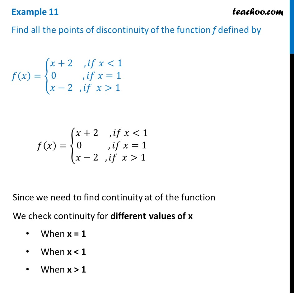 Example 11 - Find all points of discontinuity f(x) = {x+2, 0, x-2