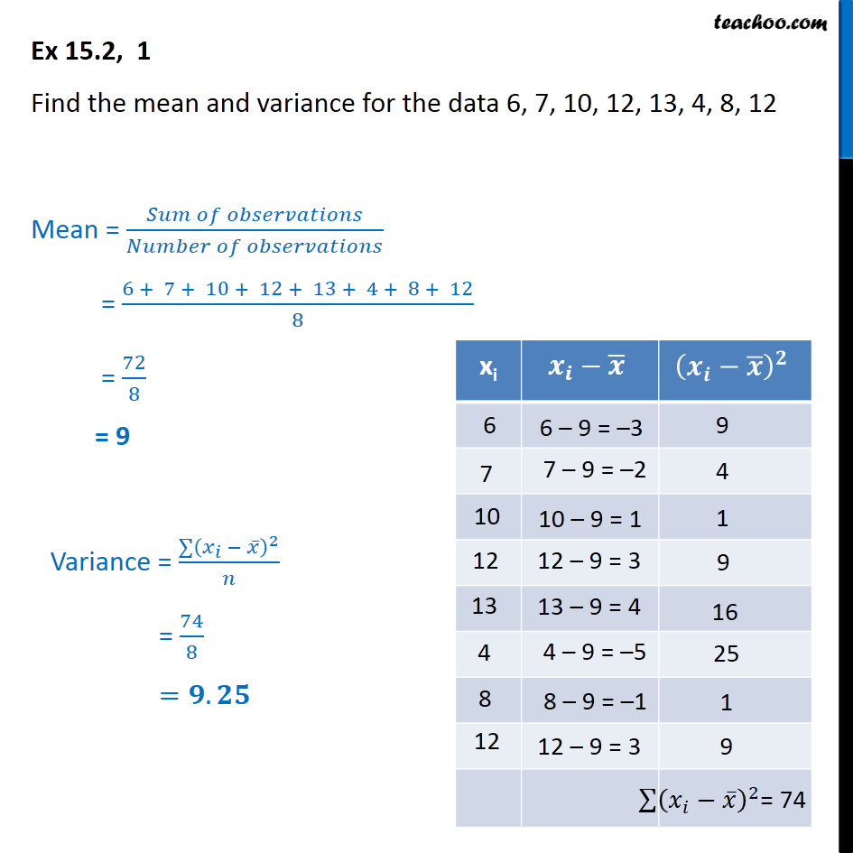 Ex 15.2, 1 - Find mean and variance for 6, 7, 10, 12, 13 - Standard deviation and variance - Ungrouped data