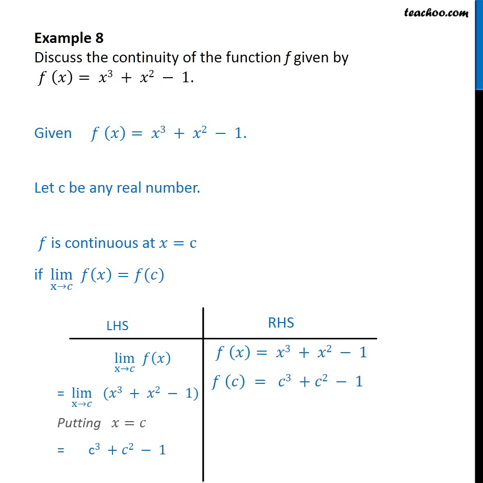 Example 8 - Discuss continuity of f(x) = x3 + x2 - 1 - Examples