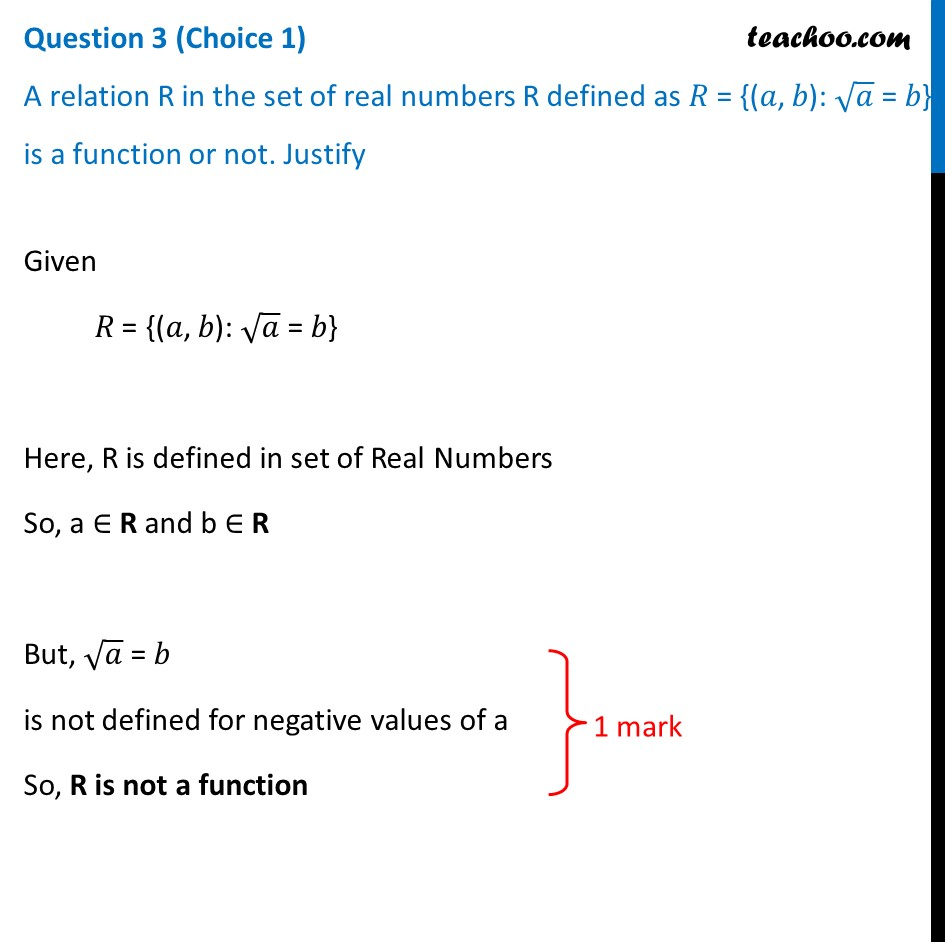 A relation R in the set of real numbers R defined as R = {(a, b): root