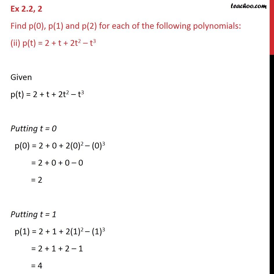 Ex 2.2, 2 - Chapter 2 Class 9 Polynomials - Part 3