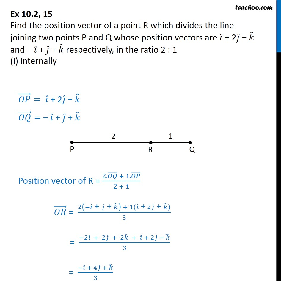 Ex 10.2, 15 - Find position vector of a point R divides line - Ex 10.2
