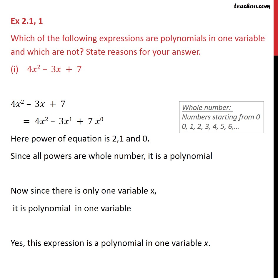 Ex 2.1, 1 - Which of the following are polynomials in one - Ex 2.1