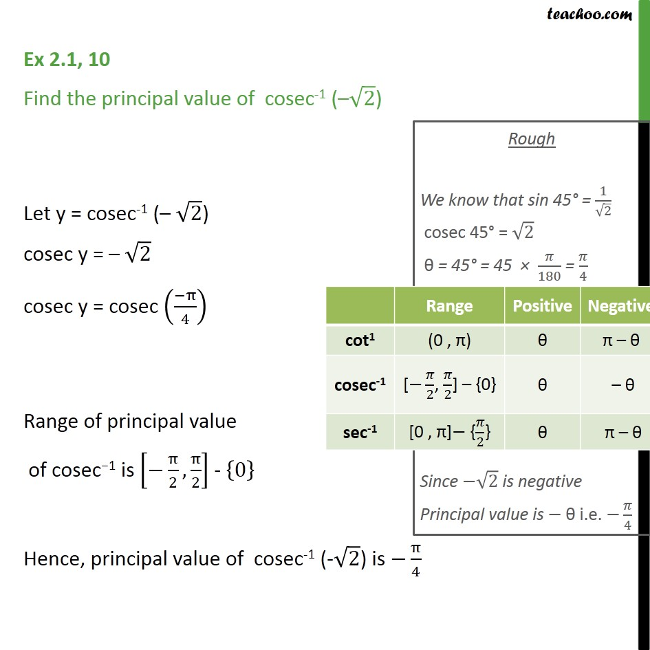Ex 2.1, 10 - Find principal value of cosec-1 (- root 2) - Ex 2.1