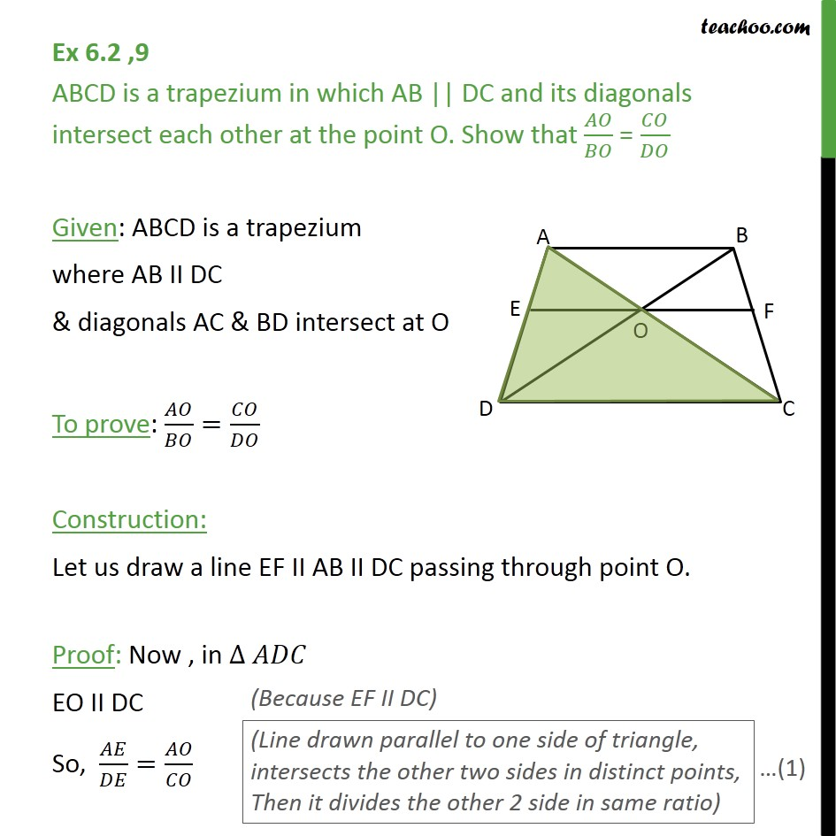 Ex 6.2, 9 - ABCD is a trapezium in which AB || DC and - Ex 6.2