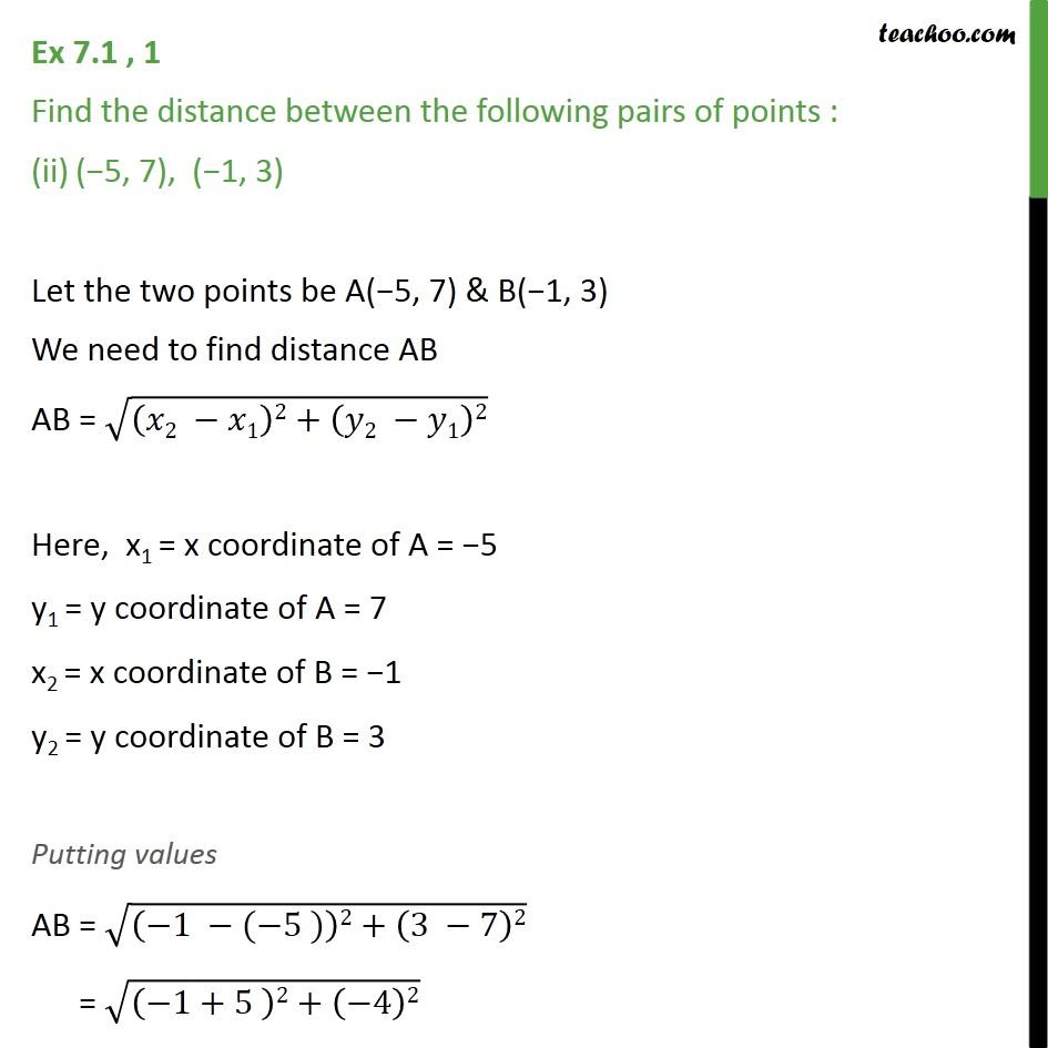 Ex 7.1, 1 - Chapter 7 Class 10 Coordinate Geometry - Part 3