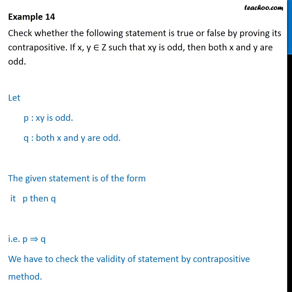 Example 14 Check True Or False By Proving Its Contrapositive Examp
