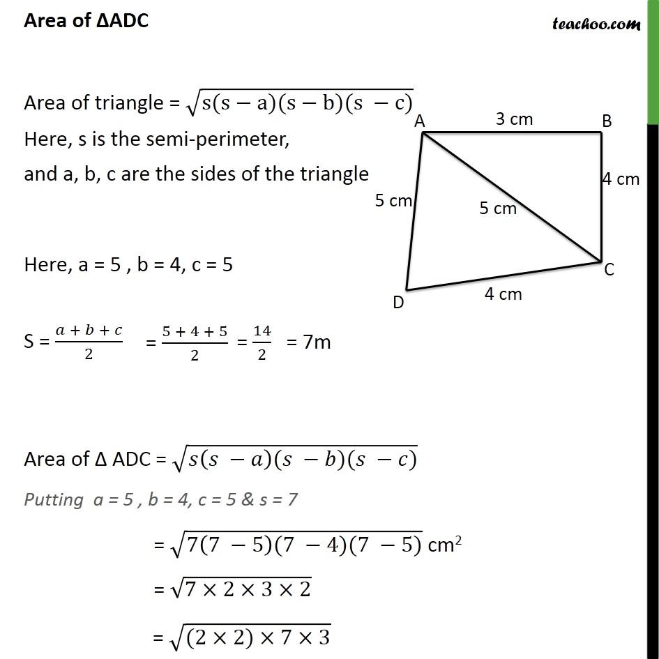 Ex 12.2, 2 - Chapter 12 Class 9 Herons Formula - Part 3