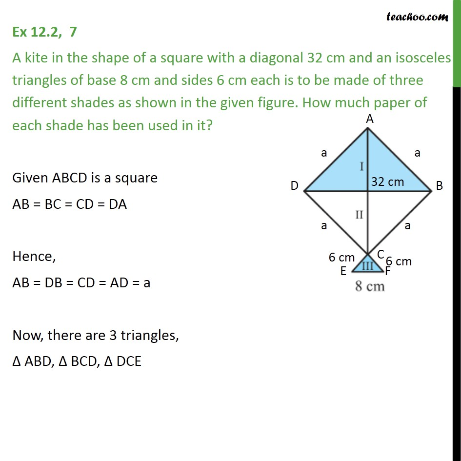 Ex 12.2, 7 - A kite in the shape of a square with a diagonal - Finding area of quadrilateral