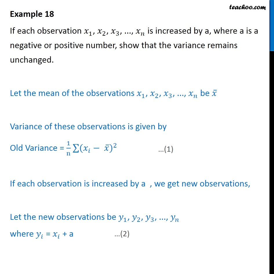 Example 18 - If each observation x1, x2, x3 is increased by a - Standard deviation and variance - Ungrouped data