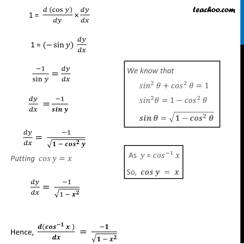 Derivative of cos-1 x (Cos inverse x) - Part 2